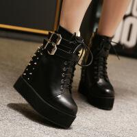 内增高马丁靴秋冬新款高跟短靴坡跟厚底松糕鞋皮带扣系带铆钉女靴 黑色
