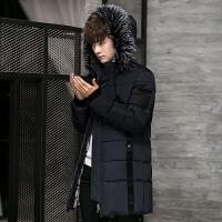 男士棉衣冬装加厚棉袄中长款青年冬季保暖外套修身大毛领外衣