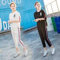 运动套装女夏时尚2018新款韩版宽松半袖九分裤学生短袖休闲两件套