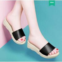 古奇天伦韩版夏季新款外出中跟拖鞋凉拖女夏外穿平跟鞋子百搭GH08824