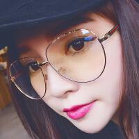 吴亦凡框架眼镜男女潮电脑护目镜平光镜护眼金色大框素颜潮流眼镜