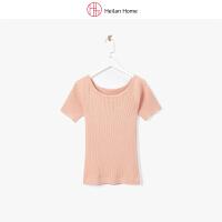 2018夏季新品净色修身短袖针织衫女 海澜优选生活馆