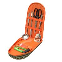 户外便携式民族风餐具件套 烧烤野餐炊具厨具套装组合野餐包 便携不锈钢餐具包 7件套