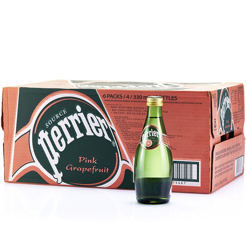 法国进口巴黎水西柚味天然含汽矿泉水330ml*24整箱(Perrier)矿泉水自营食品