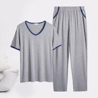 莫代尔男士睡衣冰丝短袖长裤薄款宽松休闲V领男生家居服套装