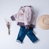 女童立领加绒保暖外套秋冬新款童装儿童加厚皮绒一体休闲夹克