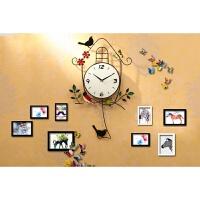 创意挂钟客厅欧式装饰静音卧室钟表现代简约家用小鸟挂表田园时钟 +8木相框+彩蝶 20英寸