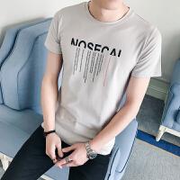夏天薄款T恤男短袖修身韩版简约百搭青年圆领t恤衫直筒休闲潮