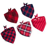 纯棉宝宝口水巾婴儿三角巾围嘴按扣双层围兜新生儿童围巾格子四季