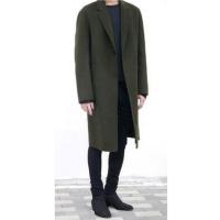 双面羊绒大衣男中长款2017新款冬季风衣修身单排扣军绿色过膝外套 5