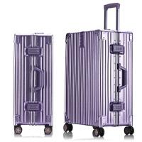 七夕礼物防刮铝框拉杆箱万向轮26寸旅行箱24寸密码行李箱29寸托运箱女 高配防刮款--熏衣草紫 29寸强力防划痕