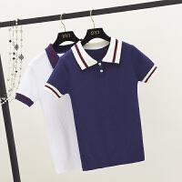 同款短袖t恤女夏 学院风减龄上衣衫翻领学生装针织衫