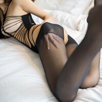 女开档露乳激情套装性感丝袜透明式连体网袜透视制服 黑色 均码