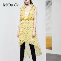 MOCO夏季新品松紧腰真丝印花连衣裙两件套MA182DRS108 摩安珂