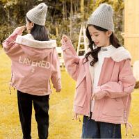 女童外套冬装中大童棉衣儿童加绒短款保暖