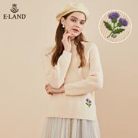【到手价:349元】ELAND秋冬新款半高领花朵刺绣宽松针织毛衣女套头EEKW94TP3B