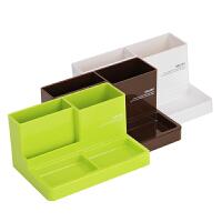 得力9118多功能笔筒桌面收纳盒黑白塑料多隔收纳简洁办公桌
