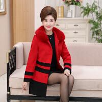 妈妈装秋冬装中长款加棉毛呢外套女40-50岁中老年人冬季呢子大衣