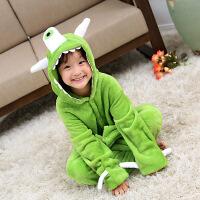 秋冬款儿童保暖独眼怪连体家居服 可爱卡通法兰绒连体睡衣 绿色 100cm