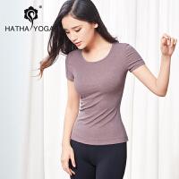 哈他新品能量瑜伽服莫代尔时尚紧身女T恤专业速干运动健身【A】