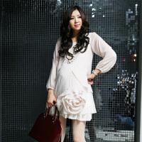 慈颜 孕妇装雪纺时尚两个大花可爱公主裙孕妇裙夏装孕妇连衣裙MLF5062