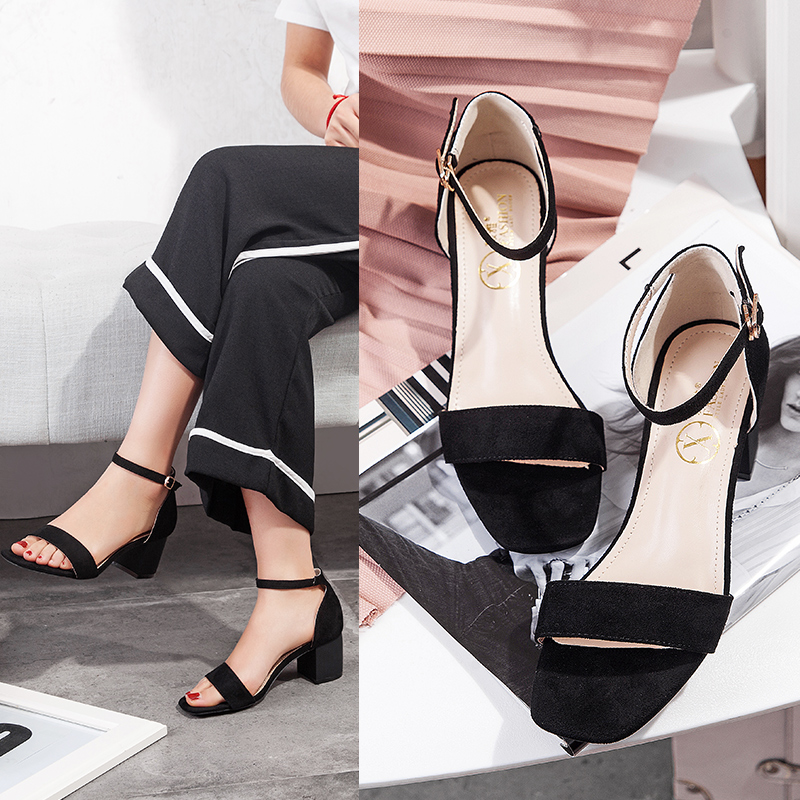 【毅雅】新款百搭一字带中跟罗马凉鞋女夏粗跟高跟一字扣简约扣带女鞋