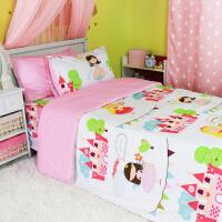 儿童床上用品纯棉 公主女孩四件套全棉田园 韩式床单被罩床品套件 公主城堡 三四件套粉波点2