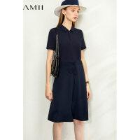 【券后预估价:166元】Amii极简时尚休闲连衣裙2020夏新款翻领抽绳拼接修身显瘦短袖长裙