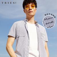 才子男装TRIES条纹短袖衬衫男士2020夏季新款休闲刺绣青年修身薄款衬衣