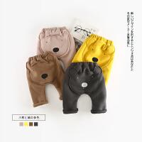 89 冬季新款婴幼儿男女童卡通小熊加绒卫裤