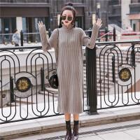 超长款毛衣裙过膝秋冬韩版宽松大码半高领套头中长款打底针织衫女