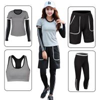 运动套装女跑步健身服宽松显瘦秋冬瑜伽服五件套胖mm加肥加大码