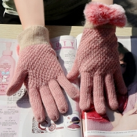 手套女冬可爱韩版学生棉手套女冬加厚保暖日系小清新触屏兔毛冬季