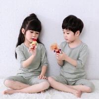 儿童纯棉七分袖睡衣套装宝宝空调服男女中大童薄款家居服半袖