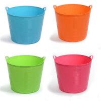 大号带出水口环保塑料储水桶 儿童沐浴桶 婴儿沐浴盆 杂物桶 桶储物 收纳桶 玫红色
