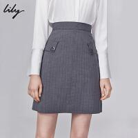 【开学季到手价:189元】 Lily2019秋新款女装进口面料灰色条纹干练A字短裙半身裙6927