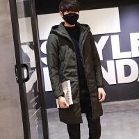 男士中长款修身羽绒服加厚保暖青年韩版纯色冬季休闲外套男