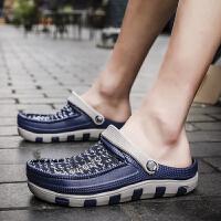 2018夏季休闲鞋男懒人鞋新款飞织包头拖鞋男士防滑夏季沙滩男鞋洞洞鞋凉鞋