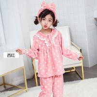 秋冬厚款5-9周岁女童珊瑚绒睡衣冬季儿童法兰绒家居服套装宝宝