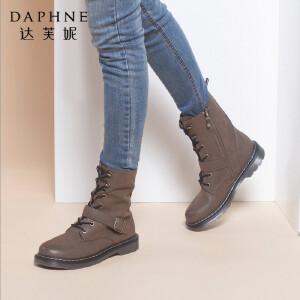 Daphne/达芙妮正品Hello Kitty系列冬款英伦时尚系带平底马丁靴