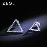 韩国不对称三角形耳钉耳环女 简约气质几何耳坠个性耳饰品