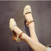 户外新品网红同款单鞋女粗跟新款韩版百搭一字扣方头浅口奶奶鞋凉鞋夏
