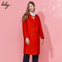 Lily冬新款女装经典纯色茧型长款毛呢大衣116430F1503