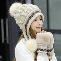 帽子女秋冬韩版时尚针织毛线帽冬天套头保暖护耳包头帽手套两件套