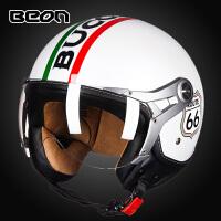 摩托车头盔男女士半覆式半盔个性空军复古盔电动车安全帽四季