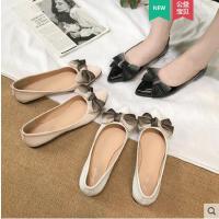 蝴蝶结平底尖头单鞋女网红仙女鞋瓢鞋时尚百搭一脚蹬配裙子的鞋