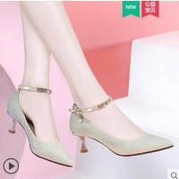 时尚尖头四季单鞋女户外新品新款韩版百搭仙女风绑带浅口高跟女鞋