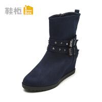 Daphne/达芙妮旗下鞋柜 冬季新款时尚复古女鞋方扣中坡跟女靴女鞋时尚