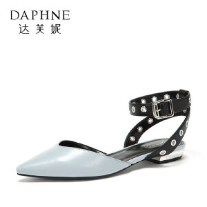 Daphne/达芙妮2018春季新款时尚皮带扣后空单鞋女平跟尖头踝带鞋