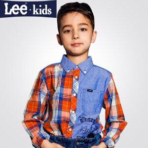 LEE童装  秋季新品男童时尚休闲百搭上衣 中大童格子长袖衬衫